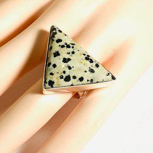 Dalmatian Gemstone 925 Stamped Ring